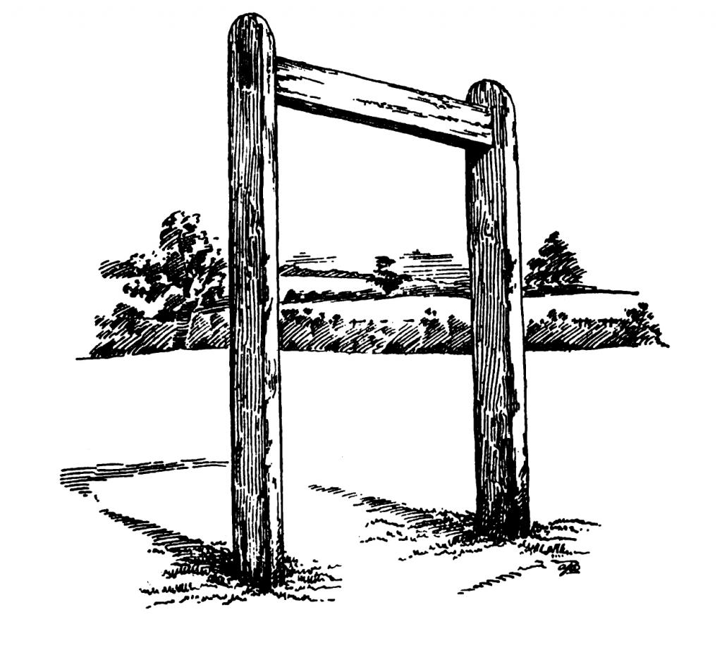 The typical gallows of the Eighteenth Century was constructed without a drop, the condemned standing on a cart pulled away to effect the execution. Cincinnati's gallows, probably looking much like this, stood on the south side of Fifth Street east of Walnut.