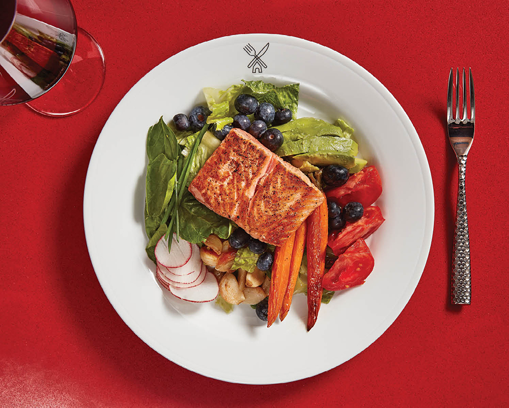 A blueberry salmon salad