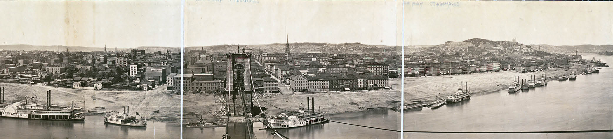View from the top of the south tower of the Roebling Bridge while it was under construction during the Civil War.