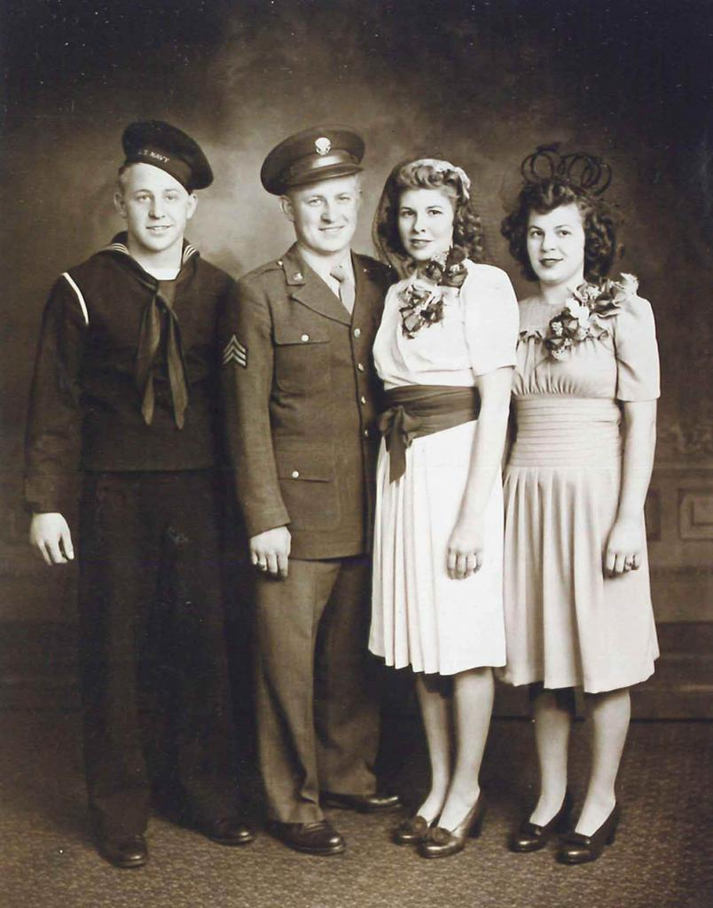 Miller and his wife June on their wedding day in 1943, flanked by his brother and sister