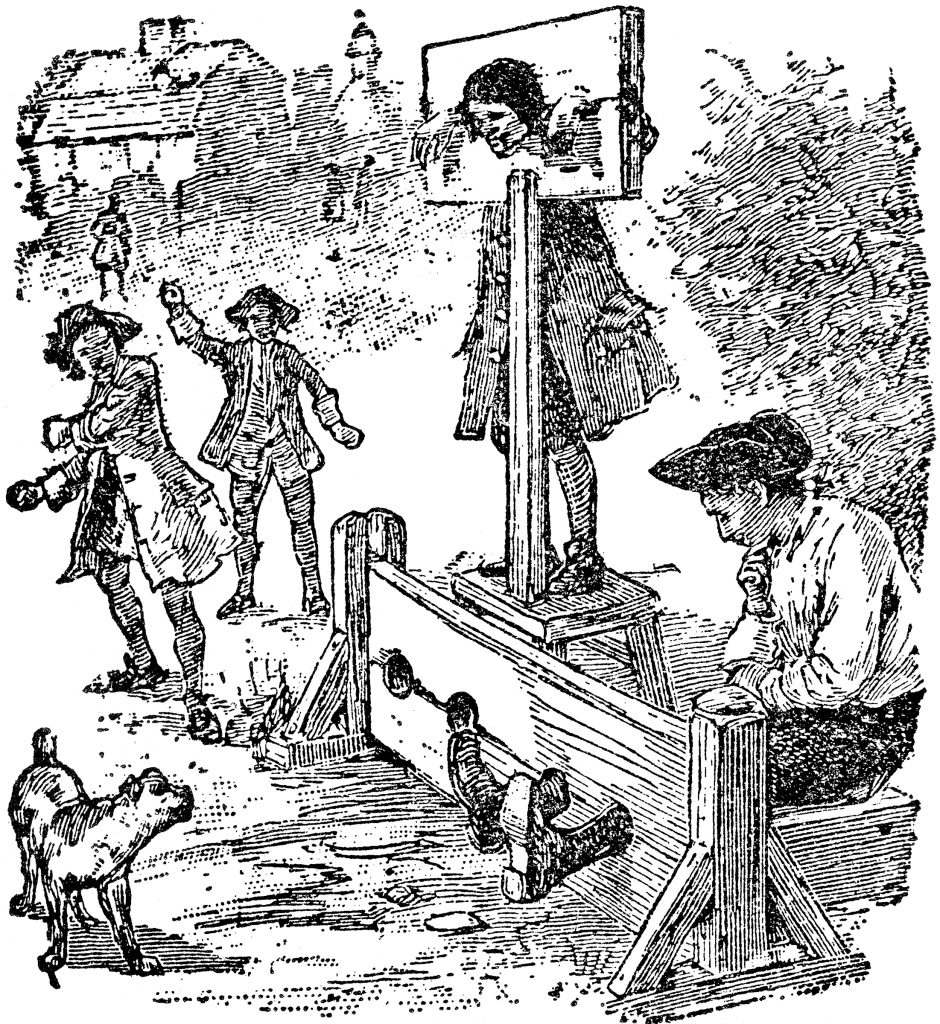 According to early writers, Cincinnati had both pillory and stocks. The pillory held a prisoner's head and hands; the stocks encased the feet. Both kept the miscreant on public display, allowing all sorts of derision and abuse by passers-by.