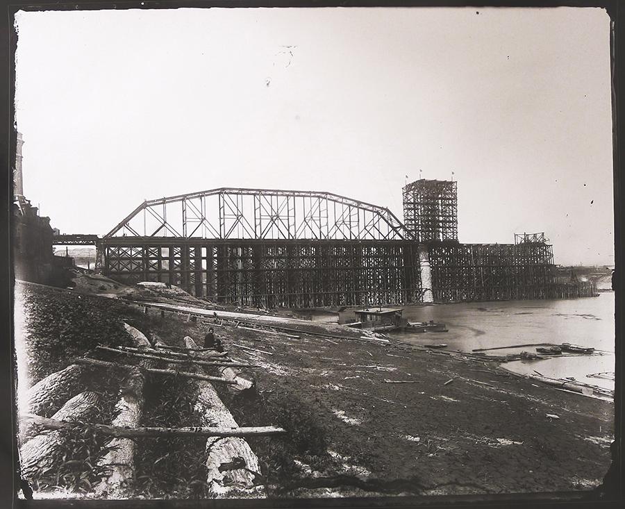 Chesapeake & Ohio Railroad Bridge, Under Construction, August 4,1888, gelatin silver contact print, 2013, from original glass plate negative, 1888.