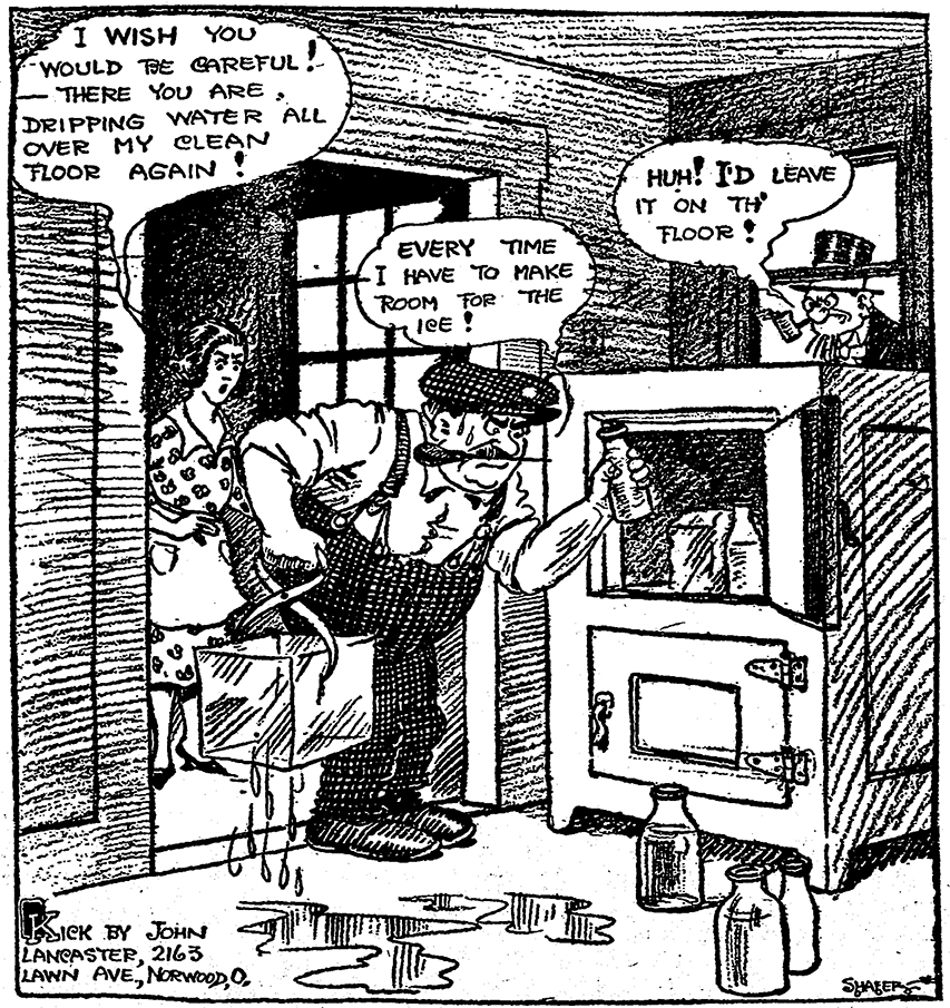 Most urban Americans got regular calls from the iceman in 1916. He lugged a big block of ice for their ice boxes. Home ice deliveries continued in Cincinnati until the early 1950s.