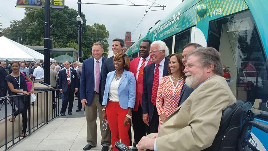 Simpson (front left) with the rest of city council at the Cincinnati Bell Connector opening in September 2016