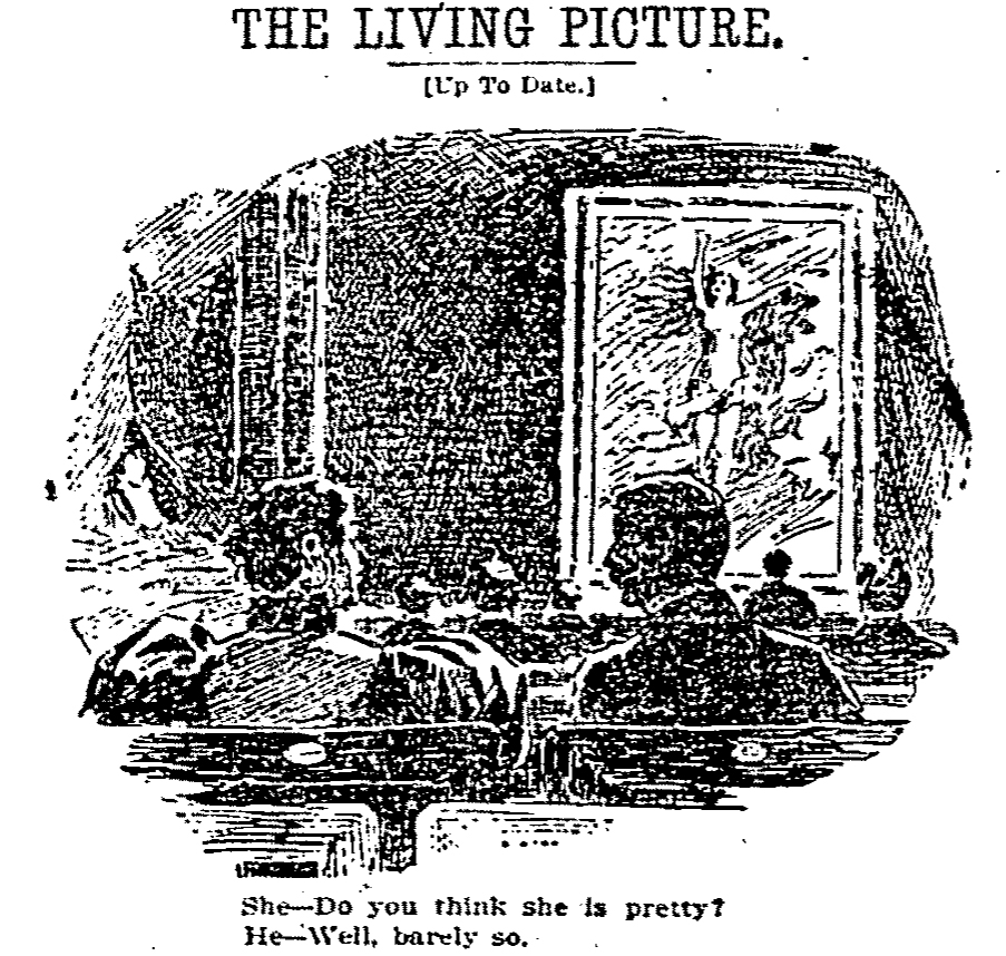 """Cartoon titled """"The Living Picture (Up To Date)"""""""
