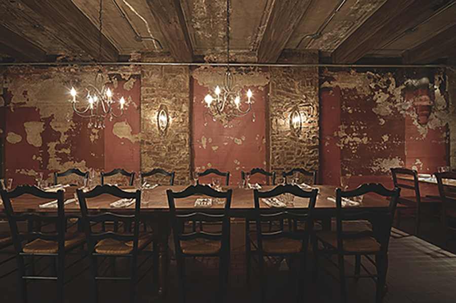 A private dining space at Sotto, directly beneath Sixth Street