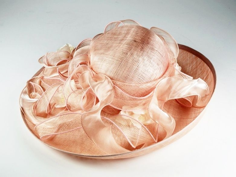 Pale Pink Wide Brimmed Hat by London Milliner Peter Bettley