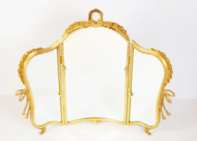 A Pretty Three Part Vanity Mirror in Gold Frame
