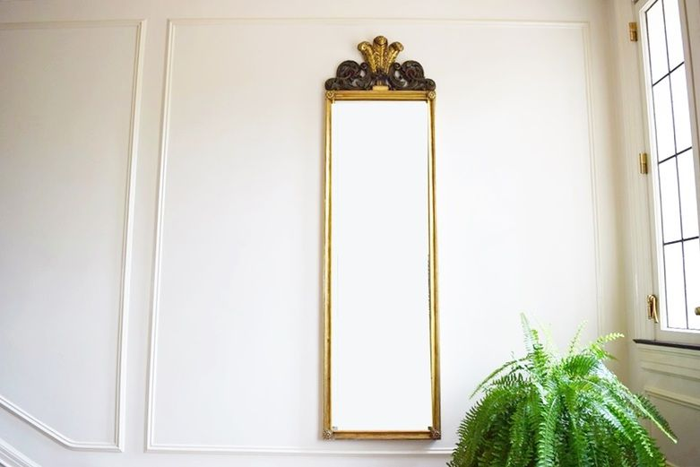 A 19th Century Neoclassical Gilt Pier Mirror with Three Feathers