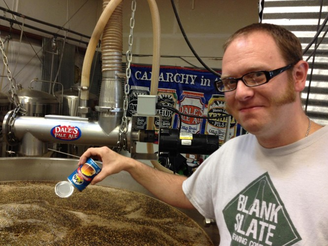 Scott LaFollette (Blank Slate Brewing) working on the beer in Colorado.