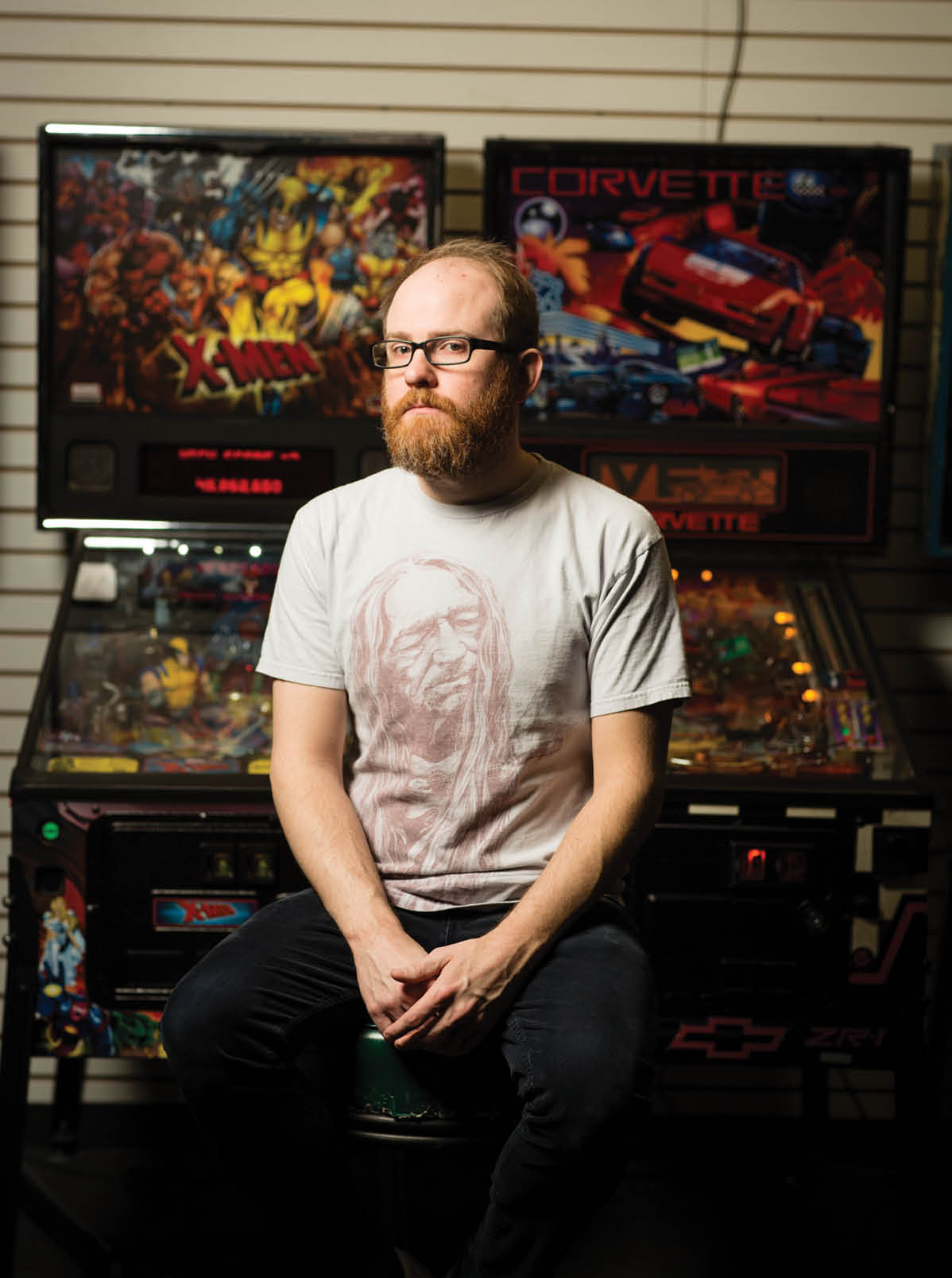 "Jesse Baker, owner of Arcade Legacy. ""It takes a lot more skill to master a pinball machine,"" says Baker. ""You have to put more time into learning the rules."""