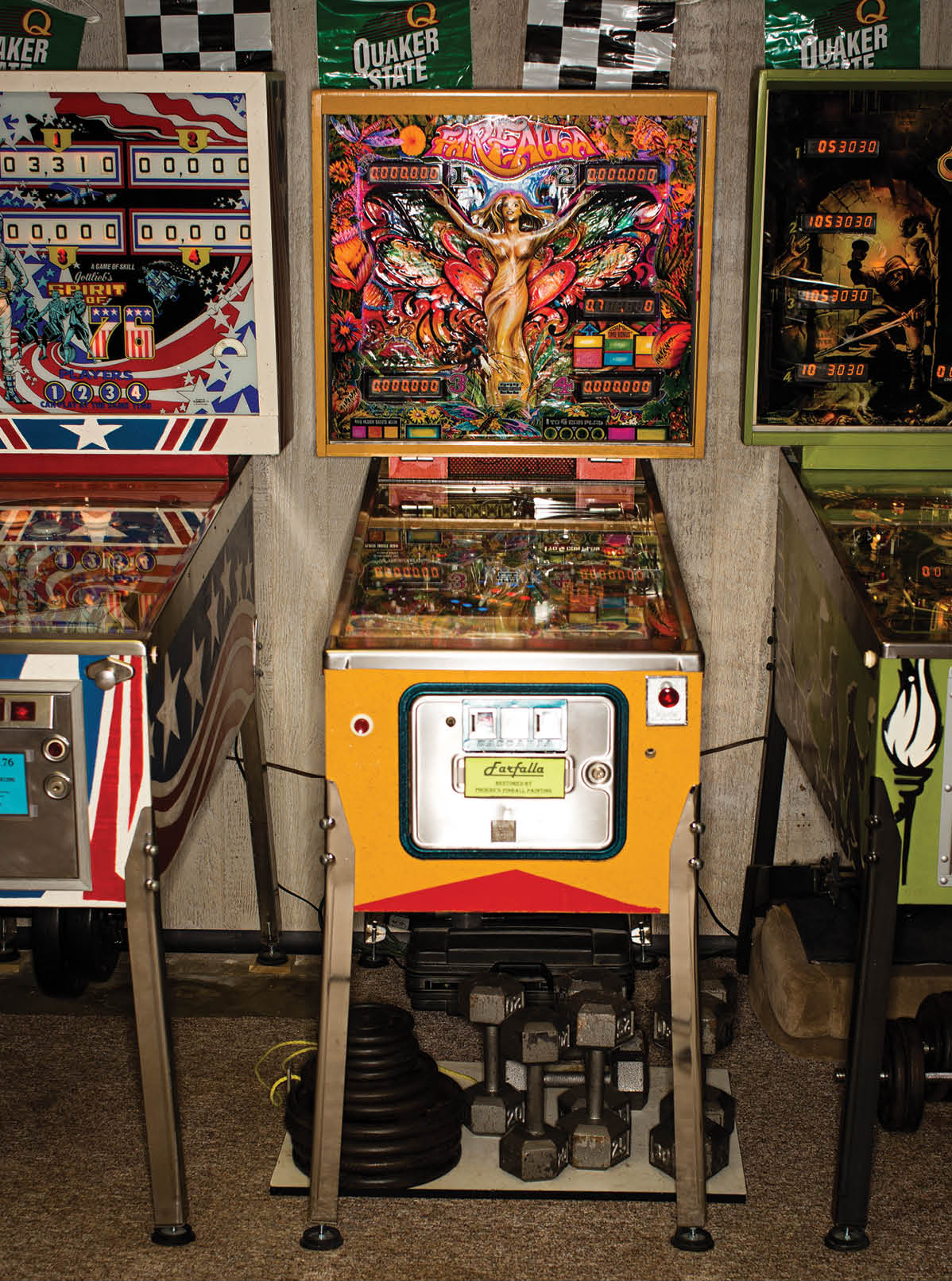 Farfalla, made by the Italian manufacturer Zaccaria, one of 16 pinball machines in Larry and Phoebe Smith's basement in Batavia.
