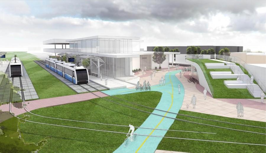Light rail rendering, courtesy UC Niehoff Urban Studio, UC DAAP School of Planning, UC College of Engineering and Applied Science – Civil Engineering Department