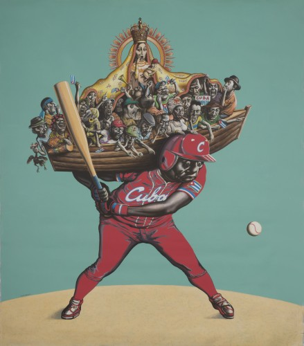 """""""El Cuarto Bate (The Cleanup Hitter), by Reymerio Tamayo. Courtesy of the Shelley and Donald Rubin Private Collection."""