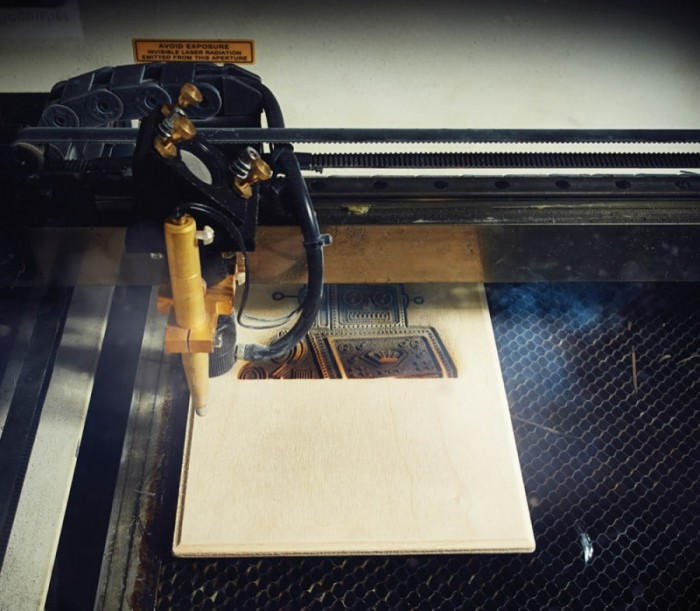 Laser Engraver: This mesmerizing engraver uses a precision laser to burn images onto surfaces ranging from wood to glass to ceramic. The base is wide enough to fit a skateboard and the laser is powerful enough to cut materials up to half an inch thick.