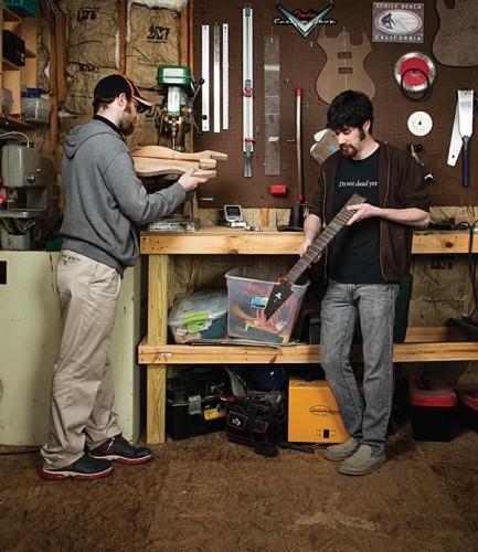 After graduation, Burns (right) and a classmate, Josh Kleiman (left), partnered to create Ivaldi guitars.