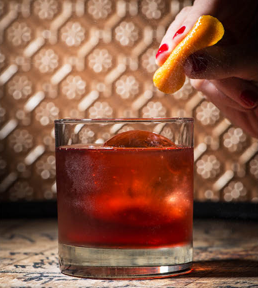 The barrel-aged Boulevardier cocktail, with Bulleit, Carpano, Antica, and Campari