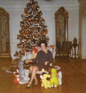 Mary White in 1969, posed in front of the Inn's Christmas tree with a menagerie of stuffed animals.