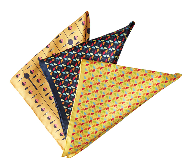 Artfully Disheveled pocket squares, $55 each, Article Menswear, articlemenswear.com