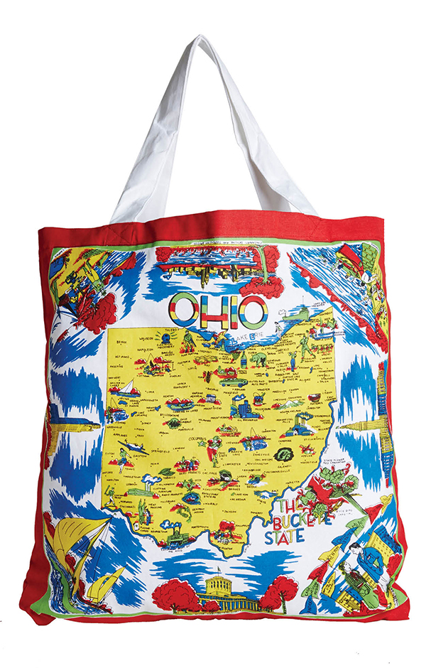 HOMEGROWN What better time to show state pride than while buying local food? Red and White Kitchen Company Ohio Map tote, $15.95, Joseph-Beth Booksellers, josephbeth.com