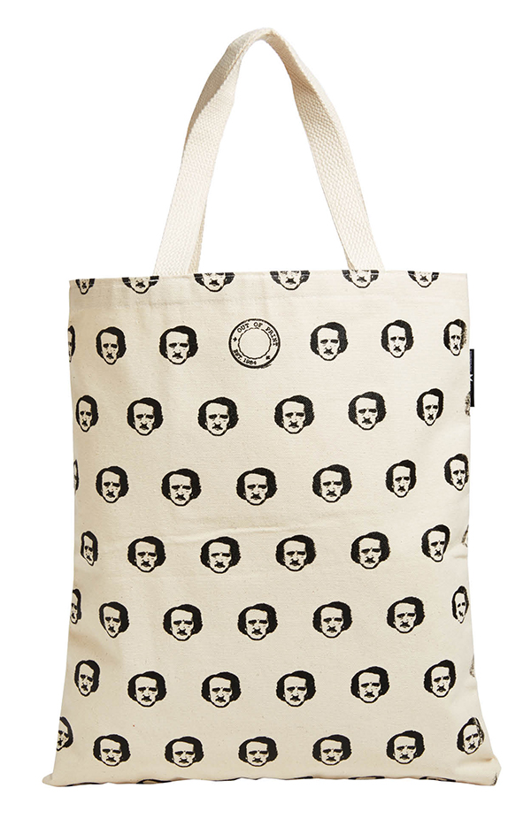"I AM POE REAL ""Once upon a midnight dreary, while I pondered, weak and weary..."" how good my veggies would look in this bag. Out of Print Edgar Allen Poe tote bag, $12.60, outofprintclothing.com"