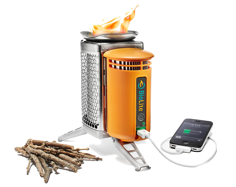 CHARGE IT TO THE GAME Weighing in at only two pounds, this cross between a backpacking stove and an off-grid power charger will cook your food and charge your phone, all on the power of a few twigs. Thanks, science! BioLite Wood Burning CampStove, $129.95, REI, rei.com