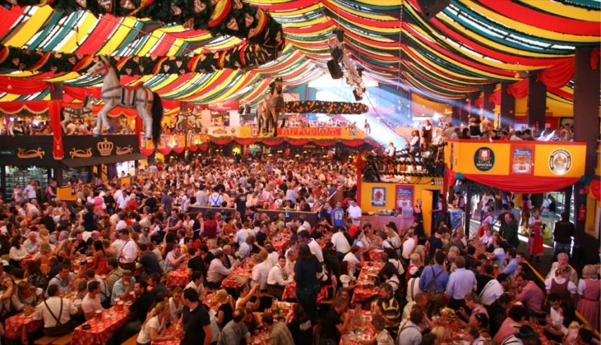 Under the Oktoberfest tent.