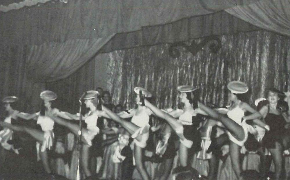 A kickline in the 1950s.