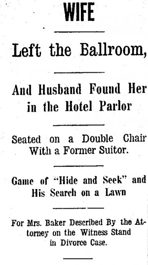 "Headline ""Wife Left The Ballroom,"" from Cincinnati Enquirer, 1 February 1913 Page 4"
