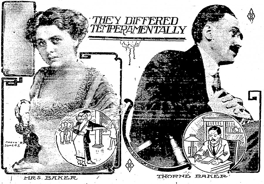 Photo montage of Mrs. Baker & Thorne Baker From Cincinnati Post, 4 February 1913, Page 1