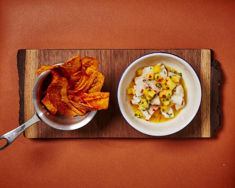 Ceviche De Camarones: gulf shrimp ceviche, hominy, pickled onions, lime, cilantro