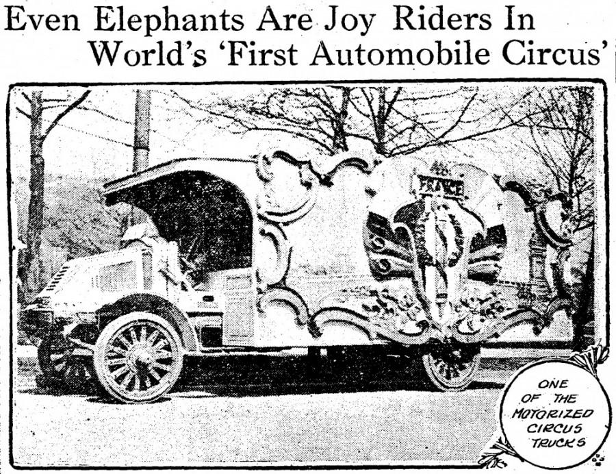 Image of motorized circus wagon with headline from Cincinnati Post - 22 April 1918