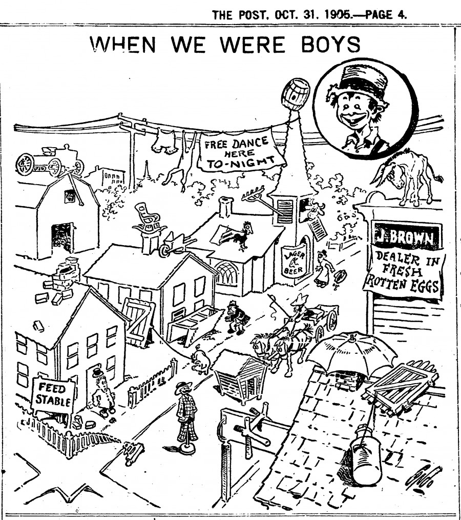 """How many Halloween """"tricks"""" can you spot in this cartoon from the 1905 Cincinnati Post? There are at least 25 pranks recorded with obvious nostalgia by the cartoonist."""