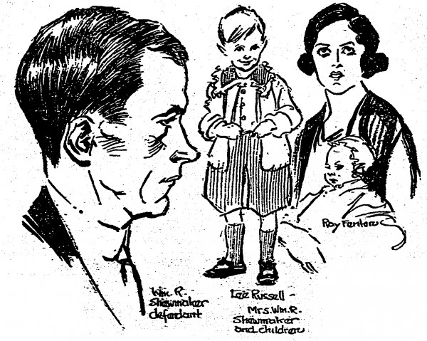While on trial for murder, William Shewmaker was sketched by the Cincinnati Post's courtroom artist, who included illustrations of the defendant's family.
