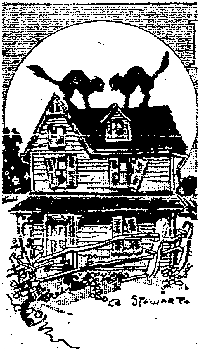 Illustration of haunted house from Cincinnati Post 24 October 1912