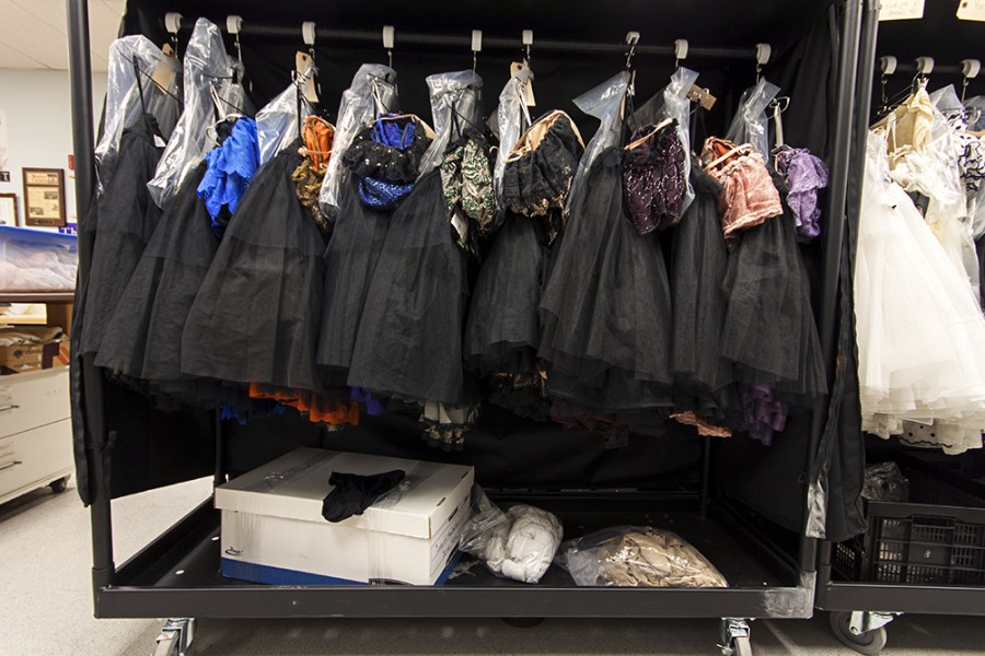 A rack of costumes for Lady of the Camellias