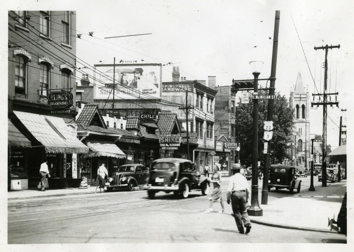 Historic, bustling Gilbert Avenue at E. McMillan Street (photograph undated).