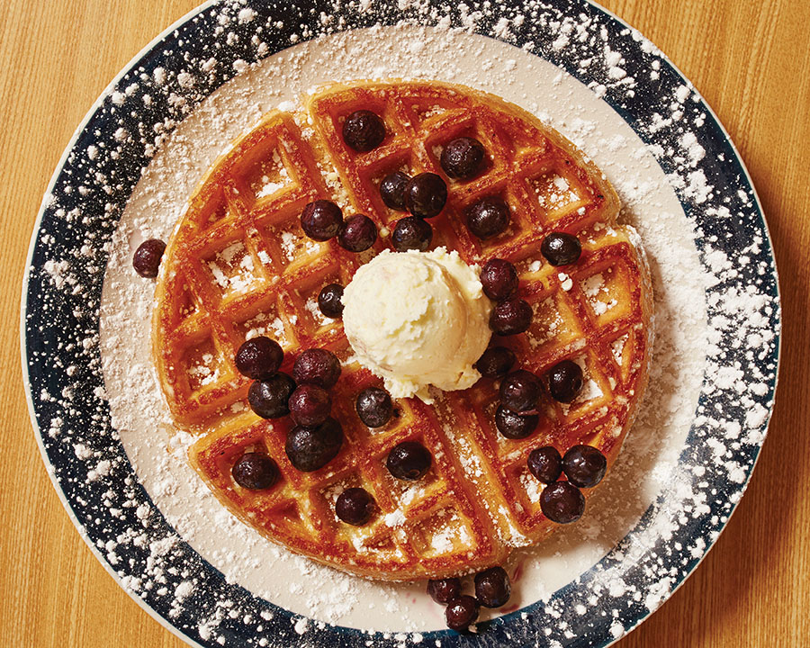 Belgian Waffle with blueberries