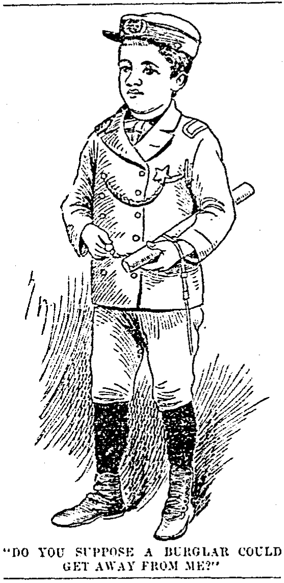 Sketch of Horace W. Carle dressed as a policeman,