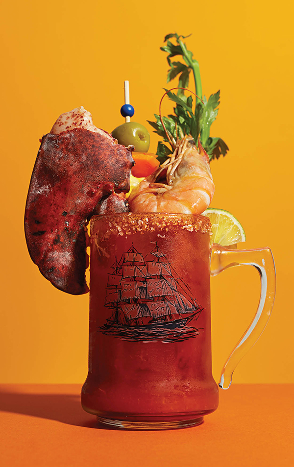 The Anchor OTR Bloody Mary. Yes, that's a lobster claw.