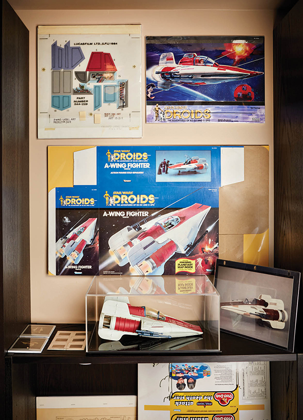Flarida's shrine to the A-wing fighter prototype from 1986, including packaging and promo materials
