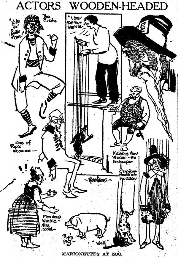 "Illustrations of Tony Sarg's ""Rip Van Winkle"" marionettes at the Cincinnati Zoo appeared in the Cincinnati Post on 22 August 1921."