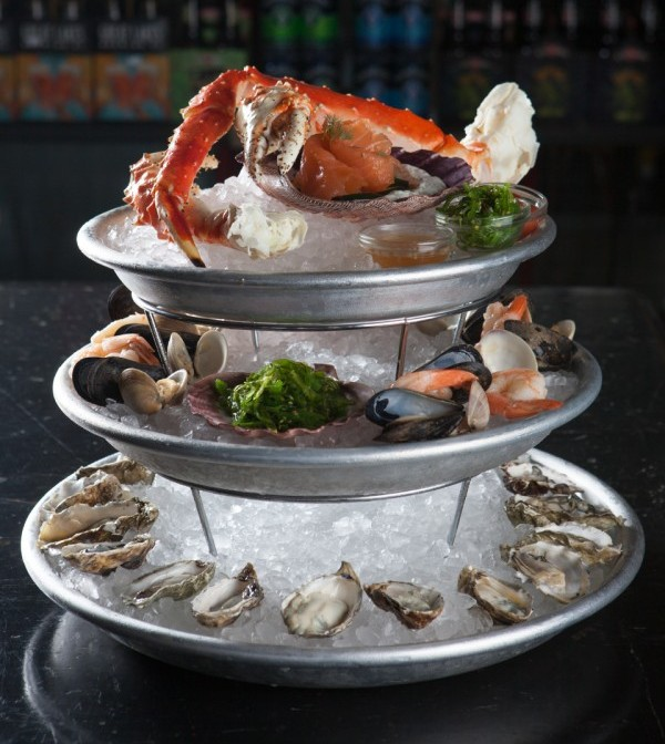 "The ""Kentucke"" Plateau for 6: Oyster, smoked char, shrimp, mussel, clam"