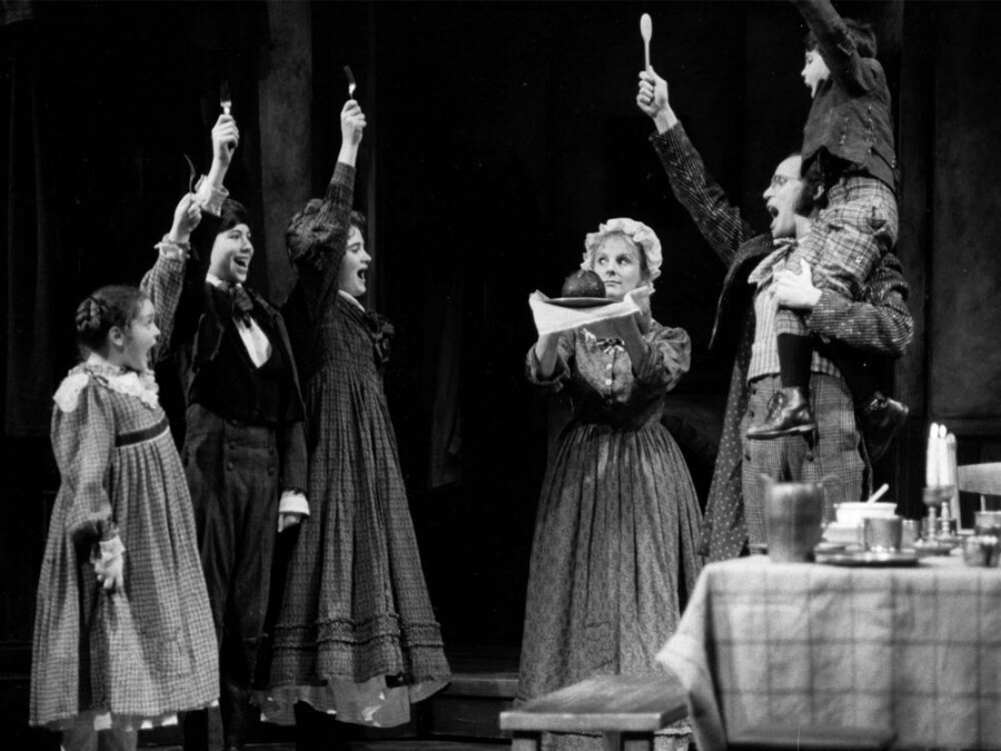 The Cratchit family in the 1994 production, left to right: Kristen Schwarz (Belinda Cratchit), Ben Sands (Peter Cratchit), Sarah G. Fischer (Martha Cratchit), Dale Hodges (Mrs. Cratchit), Patrick Frederic (Bob Cratchit), Christopher Bissonnette (Tiny Tim).