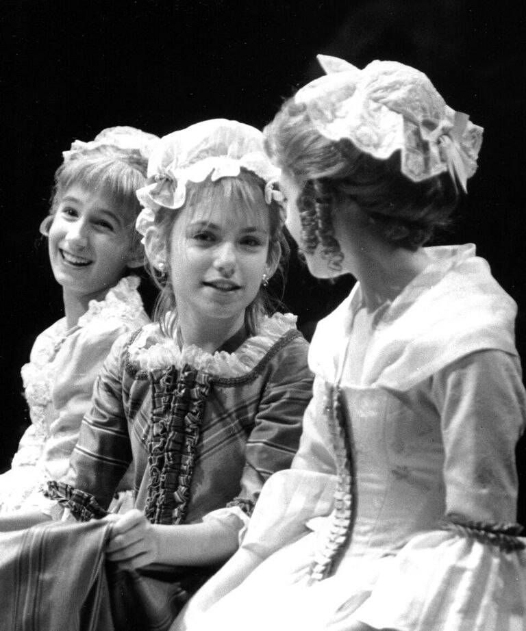 Girls at the Fezziwig party in the 1999 production, left to right: Mary Jesse Price, Susan Baker, and Cherylanna Schaeper.
