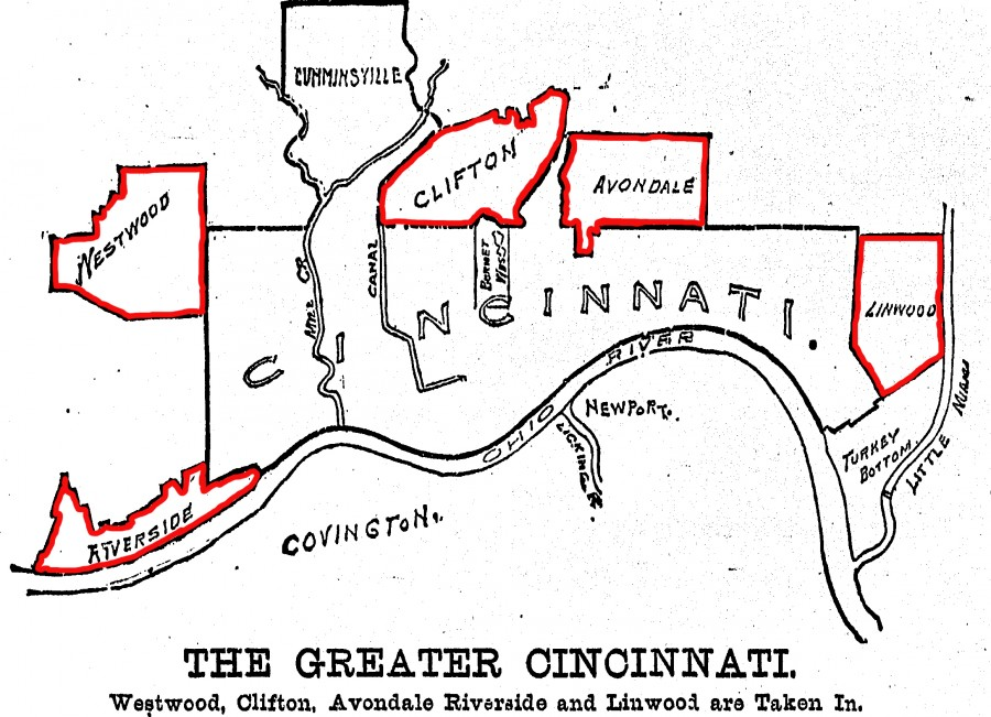 Map of Cincinnati showing annexed villages, from Cincinnati Post, 12 March 1895