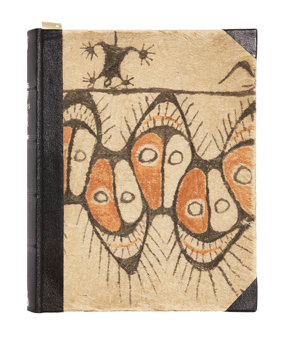 The cover of Ports of Call, a photo album of the cruise, bound in tapa (bark) cloth and given to Fleischmann's mother-in-law, Doris Kruse.