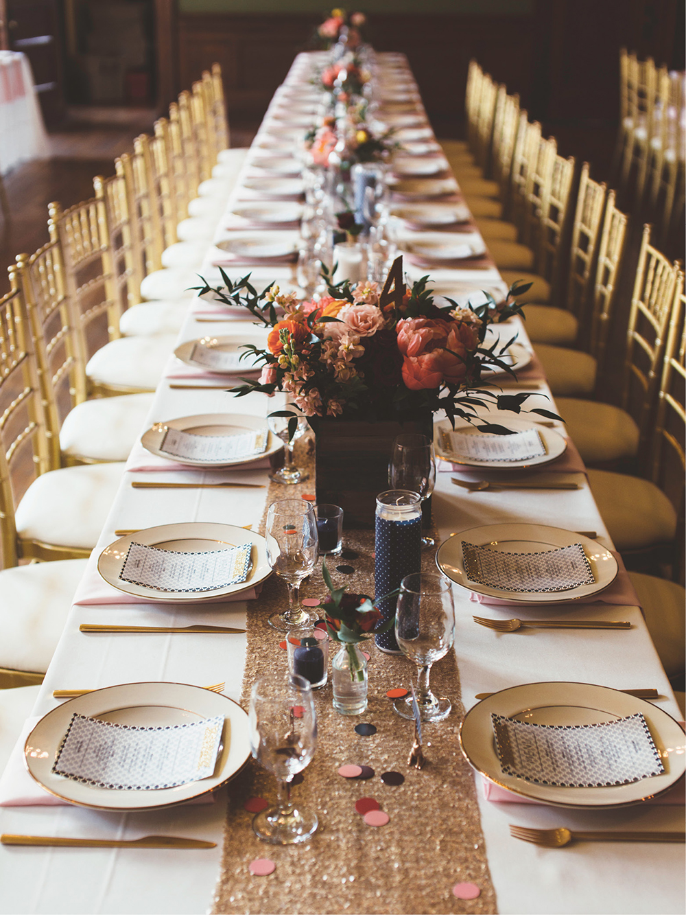 A gold-adorned tablescape.
