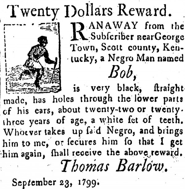 Classified advertisement with illustrations of runaway slaves from Western Spy, 1799