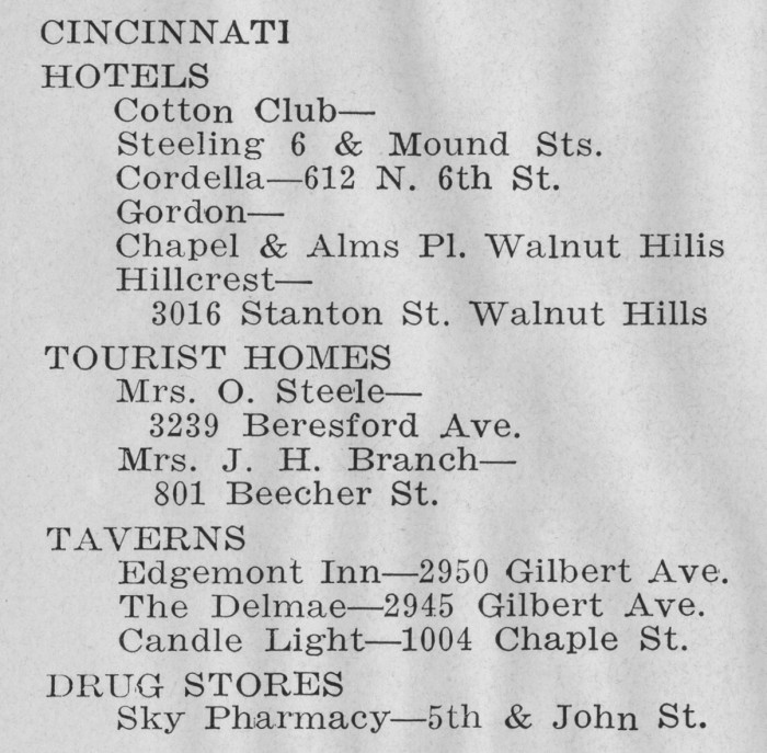 The full listing for Cincinnati from the 1939 edition of The Negro Motorist Green Book.